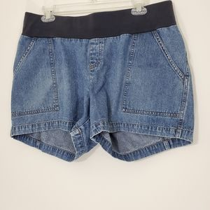 Duo Maternity Blue Jean Shorts, Size Large
